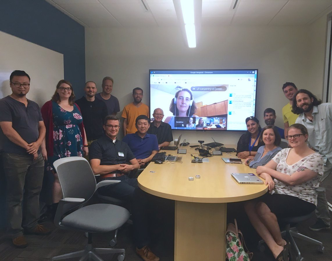 2018 June 19 board meeting with a drop-in from @thecarpentries Executive Committee